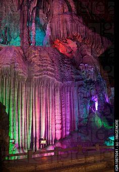 Guilin, Yangshuo, stalactites and stalagmites in Yinzi Cave, China