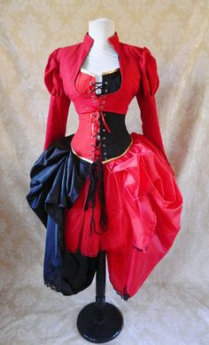 Harley Quinn/Queen of Hearts corset outfit whole by AliceAndWillow, $259.00