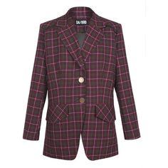Wool Plaid Blazer | Moda Operandi ($800) ❤ liked on Polyvore featuring outerwear, jackets, blazers, oversized blazer, plaid jacket, purple blazers, blazer jacket and wool blazer