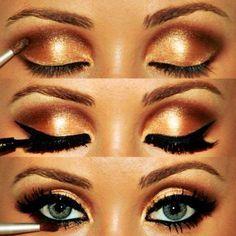 Bronze Shimmery Eyeshadow with Black Eyeliner