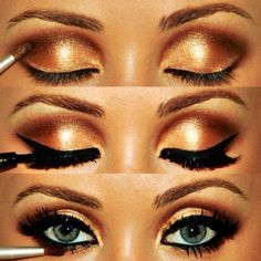 Bronze Shimmery Eyeshadow with Black Eyeliner