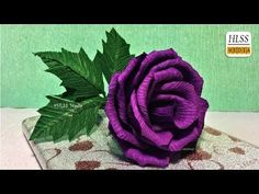 Super easy way to make purple rose paper flower| diy rose crepe paper flower making tutorials - YouTube
