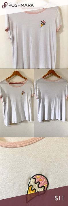 Ice Cream Patch Top This shirt is simple and cute, perfect for those sunny days 🌞 I mean, who doesn't love ice cream?? 😋🍦 I've only worn this once and I took great care of it!   Product details:  - Material: cotton  - Shirt is a bit sheer  I'm open to reasonable offers ✨ Tops Tees - Short Sleeve
