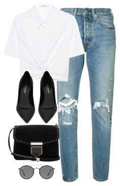 """""""Untitled #3686"""" by theaverageauburn ❤ liked on Polyvore featuring Levi's, T By Alexander Wang, Yves Saint Laurent, Givenchy and Ray-Ban"""