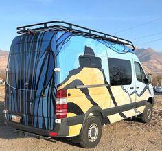 Sprinter van build with Aluminess roof rack and wrap by Sprinter Camper, Mercedes Sprinter, Off Road Bumpers, Mercedes Van, Sprinter Conversion, Van Wrap, Motor Homes, Van Camping, Toy Hauler