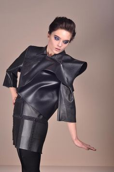 Sophie#marionnet#origami#leather#jacket Origami, Leather Skirt, Leather Jacket, Studio, Skirts, Jackets, Fashion, Leather, Embroidery