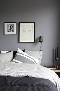 Love this set up. So simple but makes a statement. I have my one son's room done in grey and black ~ wish I could do it again for my other son lol
