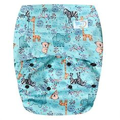 EcoAble Teen & Adult Incontinence Cloth Diaper with Charcoal Bamboo Insert Pad, One Size (Green)