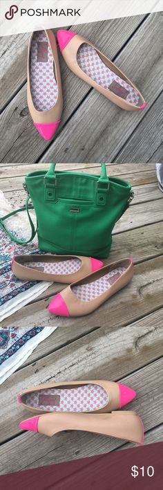 Pink/tan flats! Pink and tan Jellypop flats! Gently used, great condition except for a few minor scuffs. Size 7. Green purse available in another listing! Jellypop Shoes Flats & Loafers