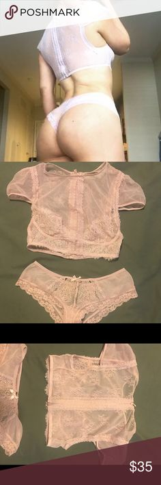 Victoria's Secret lingerie set Pale pink lingerie set. Worn a couple times for photo shoots. Removed the tag for the top. Both top and bottom are size small and bottom is a cheeky style. Victoria's Secret Intimates & Sleepwear