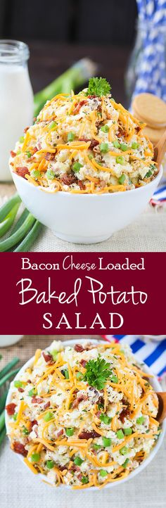 The best Loaded Baked Potato Salad with favorites like bacon, cheese, sour cream and spices. You'll love this recipe for summer picnics and year round holidays! #potato #recipe #food #cheese #bacon ad