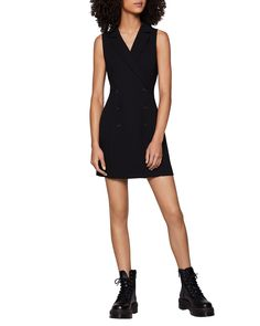 Shop Tuxedo Double-Breasted Tuxedo Dress from BCBGeneration at Neiman Marcus Last Call, where you'll save as much as on designer fashions. Tuxedo Dress, Gray Dress, Dress Black, Dress With Sneakers, Dress With Boots, Double Breasted Tuxedo, Blazer Dress, Bcbgeneration, New Dress
