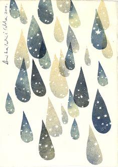 Graphic drops with stars- Cella Anita Celic Gravure Illustration, Art Et Illustration, Clouds And Rain, Textures Patterns, Print Patterns, Kunst Poster, Grafik Design, Art Design, Oeuvre D'art