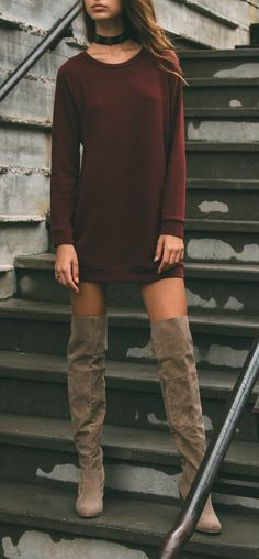 - Details - Size Guide - Model Stats - Contact Compose yourself! This burgundy Sybill Sweater Dress features a soft, lightweight, knit fabric with stretch. Scoop neck. Long sleeves. Front side slit po
