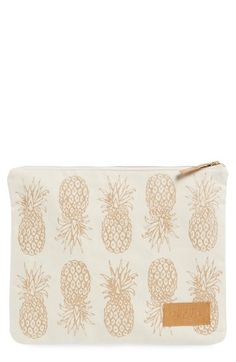 alola Pineapple Print Canvas Clutch