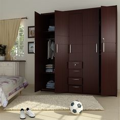 5 Doors Wooden Wardrobe - Fitted Wardrobes - Al Habib Panel Doors - September 28 2019 at Cabinet Door Designs, Bedroom Cupboard Designs, Wardrobe Design Bedroom, Bedroom Furniture Design, Cabinet Design, Wooden Almirah, Almirah Designs, Wooden Wardrobe, Wooden Bedroom