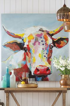 """Brilliant and charming, """"Bessie"""" is a delightful and distinctive work of art that's sure to leave you smiling. Vibrant colors and a wonderful hand-applied texture bring this stunning cow portrait to life"""