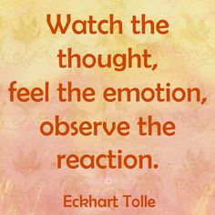 Watch the thought, feel the emotion, observe the reaction... -Eckhart Tolle