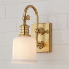 A gooseneck pivoting arm in solid cast brass, a white opal glass tumbler shade, precision restoration fittings, and exquisite finishes make this collection a clear winner. Bathroom Wall Sconces, Bathroom Sconces, Modern Wall Sconces, Bathroom Light Fixtures, Bathroom Ideas, Bathroom Lighting, Bathroom Remodeling, Bathroom Inspiration, Milk Glass Lamp