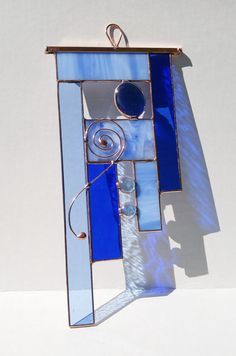 Stained glass abstract copper blues suncatcher by BelloGlass