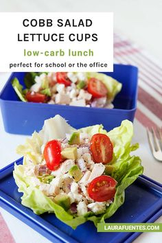 These Cobb Salad Lettuce Wraps are a low-carb lunch loaded with protein, veggies, and goodness! Wrap Recipes, Lunch Recipes, Real Food Recipes, Dinner Recipes, Homemade Chicken Salads, Asian Chicken Salads, Easy Eat, Easy Food To Make, Healthy Low Carb Recipes