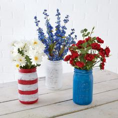 Red, White and Blue Mason Jar Centerpieces