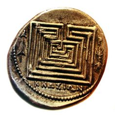 Knossos gold coin, Hellenistic town near Knossos, around 300 BC. Shows labyrinth housing minotaur = maze under the palace at Knossos? Minted by Hellenistic town around Knossos. Palace fell & Hellenistic/Roman town was built up around it. You don't build on a ruin - only around. Ruin of palace = hundreds of rooms with a big room in the middle - the ruin itself is the maze.