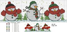 Christmas Ornaments To Make, Christmas Cross, Christmas Projects, Cute Cross Stitch, Cross Stitch Designs, Cross Stitch Patterns, Cross Stitching, Cross Stitch Embroidery, Snowman Faces