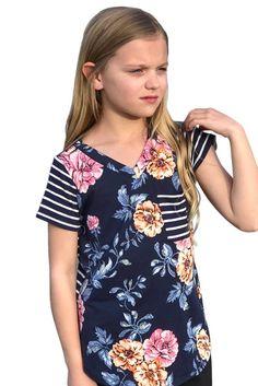 Floral Boho Print V Neck T-Shirts For Girls | Divas Fashions