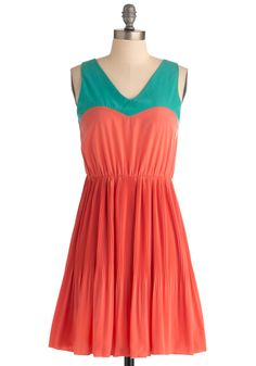 Me, You, and Malibu Dress in Coral - Mid-length, Orange, Green, Color Block, Pleats, A-line, Casual, Sleeveless, Summer