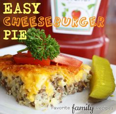 Easy Cheeseburger or Taco Pie - My family LOVES this. Comfort food at its best! from favfamilyrecipes.com #cheeseburgerpie #recipe #food