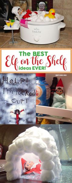 The BEST Elf on the Shelf ideas EVER! Don't worry about frantically figuring out what to do with the elf tonight. Check out these easy and smart Elf on the Shelf ideas instead. Elf on the Shelf Crock Pot Bubble Bath Noel Christmas, All Things Christmas, Xmas Elf, Christmas Elf Decorations, Christmas Ideas For Kids, Hygge Christmas, Christmas Music, Xmas Ideas, Funny Christmas