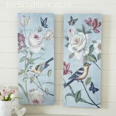 Plaque inspiration: Tall Vintage Flowers & Birds Pictures-Pair