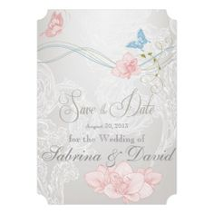 Whimsical Butterflies and Lace Save the Date