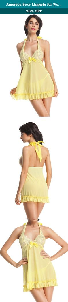 Amoretu Sexy Lingerie for Women Lace Chest Babydoll Night Wear Dress Yellow. About Amoretu Sexy Lingerie: Every girl is a beautiful angel, Amoretu focus on blooming your beauty. ? Amoretu develop women sexy lingerie includes badyboll, bodystocking, chemise, also offers novelty cosplay costumes, stockings & socks etc., only for more exciting pleasure in your life. Shopping from Amoretu is guarantee of top quality and excellent customer service. Product Details: 1. Package includes: 1 X...