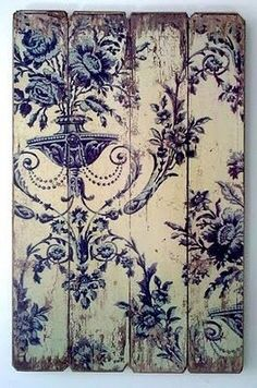 Idea for old wall paper decoupaged on reclaimed wood #Frame, #Home