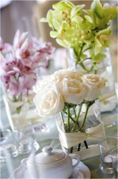 Soft Flowers, nice simple table centepeices