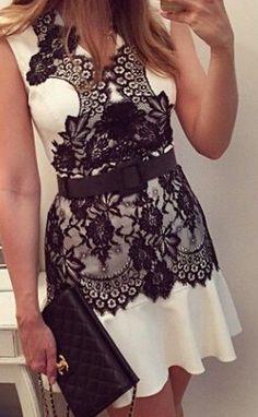 Lace Draped V-neck Sleeveless Chiffon Dress
