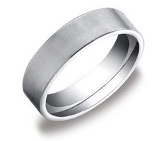 Men's 10k White Gold 6mm Comfort Fit Plain Wedding Band with Soft Satin Finish, Size 9