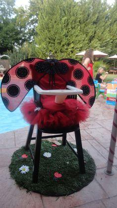 Lil' Ladybug High Chair Tutu party decorations: GlamLuxePartyDecor: FREE SHIPPING! Creative, Unique, Personalized Glamorous Designer Party Decorations and keepsakes. Theme party Decor packages. 1st Birthday parties, pink princess tutu, weddings, christenings, holiday celebration, bridal shower, babyshower, bachelorette, Super Bowl, etc. #jacquelineK