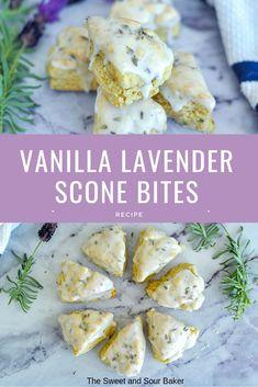 Vanilla Lavender Scone Bites via SweetNSourBaker Tea Recipes, Sweet Recipes, Baking Recipes, Dessert Recipes, Scone Recipes, Lavender Scones, Lavender And Lemon, Lemon Scones, Delicious Desserts