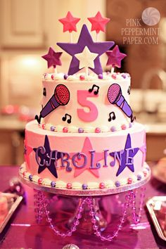 Kathryn's 5th Birthday Party  Popstar Cake by For Heaven's Cakes