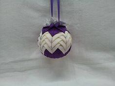 Dekorácie - vianočné gule - fialovo-smotanové - 6047222_