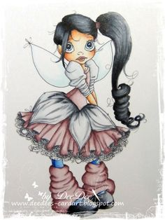 DeeDee´s Card Art ~ Coloring Black Hair Tutorial ~ on SC Whispy Fairy ~ Copics: C3-C5-C7-C9