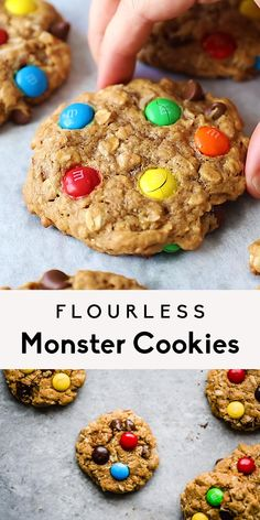 Incredible healthy monster cookies packed with peanut butter flavor, chocolate chips, coconut, chocolate candy pieces and nuts. These flourless monster cookies are a wholesome take on a childhood classic you know and love! Easy to make and great for customizing. #cookies #flourless #glutenfree #oatmealcookies #chocolatechipcookies #baking #healthydessert
