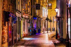 Shopping Street through Teignmouth, Devon, England