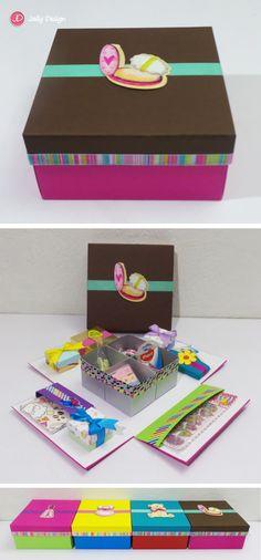 Caja scrapbook Mini kit de papelería Rosa y chocolate