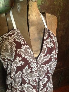 brown print halter dress upcycled from skirt by TexasJunkLady