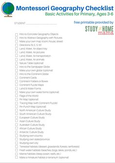 Montessori Geography Checklist for Primary Montessori Homeschool