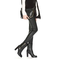 Black Biker Leather Pull On Chunky Heel Boots | Dawson | Pre Fall 14 | JIMMY CHOO Shoes